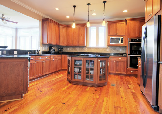 hardwood floor installation in the kitchen - timberline flooring