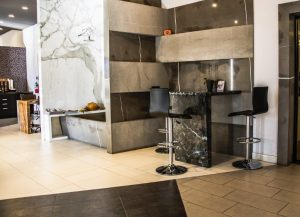 Porcelain tile installed on floor and wall