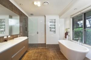 Modern bathroom with tile flooring