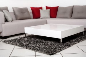 Classic furnitures for modern interiors with white tile flooring