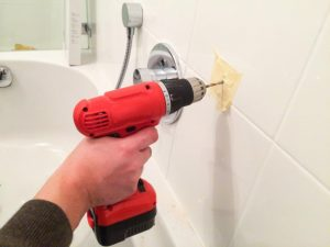 Drill into tile in bathroom
