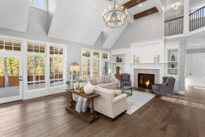 Living room with attractive luxury flooring