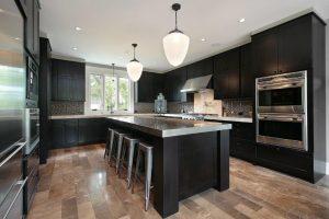 Tile floor in kitchen with hardwood look