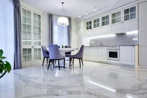 Living room with Natural Stone Floors