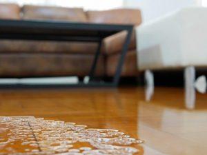 Water leak in living room by winter storm URI