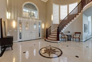 Beautiful interior design with marble floors